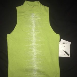 Lime Green Christina Rotelli High Neck Knit Tank